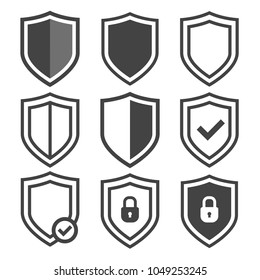 Vector shield icon set. Security icons, protection sign, shield vector collection, reliability logos. Web buttons on transparent background.