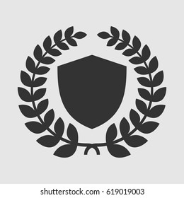 Vector Shield With Laurel Wreath Insignia