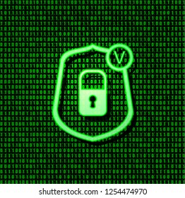 Vector Shield Security Lock Icon, Bright Green Glowing Correct Sign on Green Binary Code Background.