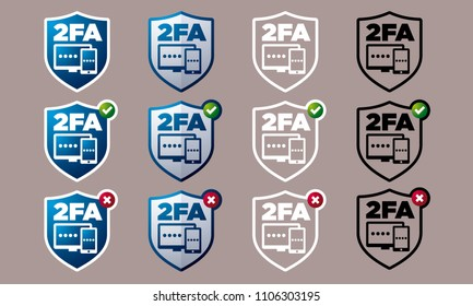 Vector shield shaped two factor authentication icons with validity indication variations