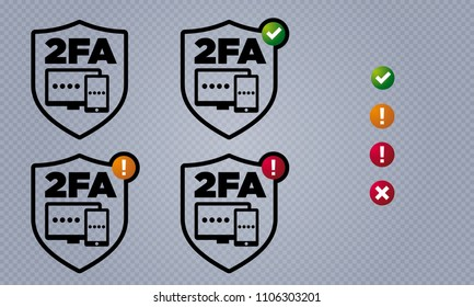 Vector shield shaped two factor authentication user interface icons with validity indicators