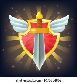 Vector shield with sword, stars and wings. Perfect for games or other design works