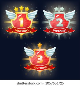 Vector shields with victory banner, stars and wings. Perfect for games or other design works