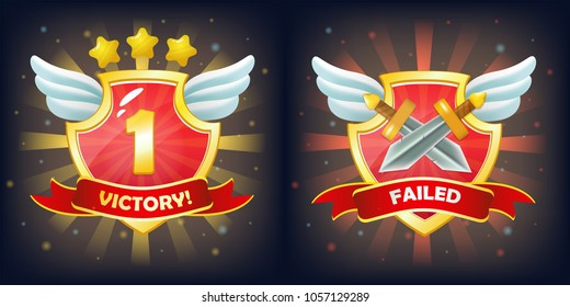 Vector shields with victory and failure banner, stars and wings. Perfect for games or other design works