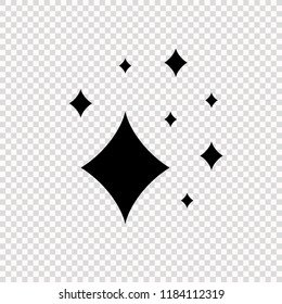 Vector Shine Icon on Transparent Backgrund, Simple Flat Comics Symbol of Glowing.