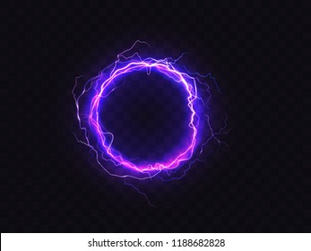 Vector shining circle of purple lighting isolated on dark background. Illuminated violet round frame. Digital effect of glowing, electrical discharge, design decoration. Sparkle, fluorescence.