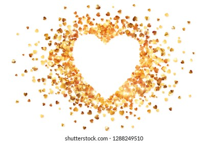 Vector shining golden confetti Valentines day heart shape frame
