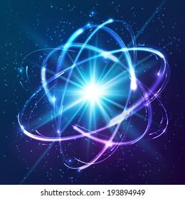Atom-Modell für Neonlichter mit Vektorglanz