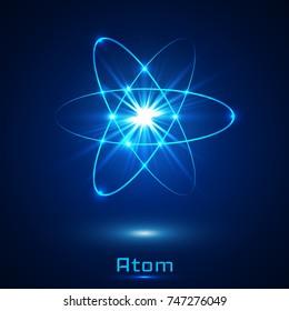 Vector shining neon lights atom model.