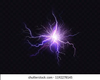 Vector shining purple lighting isolated on dark background. Illuminated violet electrical discharge, neon effect. Digital effect of glowing, design decoration. Sparkle, fluorescence.