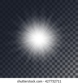Vector shining sun on background with transparent effect
