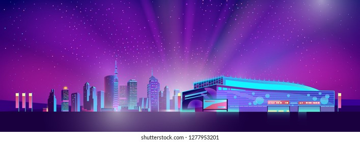 Vector shining supermarket out of town, modern megapolis. Bright glowing of rising sun on buildings, dawn. Urban skyscrapers in neon colors, town exterior, architecture background. Cityscape concept.