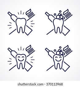 Vector shining teeth with toothbrush and toothpaste. Oral hygiene and teeth care labels set. Green, blue, turquoise transparent overlapping linear vector illustration. Symbol, sign, icon, logo