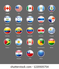 vector shiny buttons with Flags of american on white background
