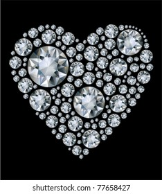 Vector shiny diamond heart on black background