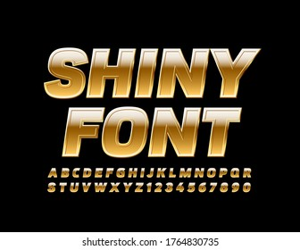 Vector Shiny Font. Modern Gold Font. Elite reflective Letters and Numbers