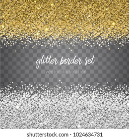 Vector shiny gold and silver glitter border set isolated on transparent background