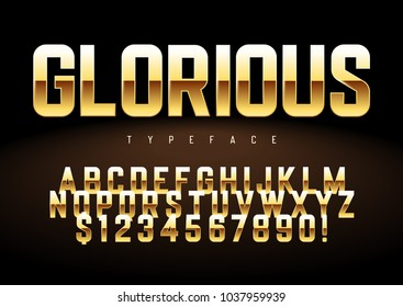 Vector shiny golden display font design, alphabet, character set, typeface, typography, letters and numbers. Swatch color control.