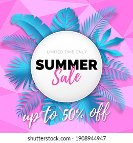 Vector Shiny Polygonal Pink Banner with Round Frame of Turquoise Tropical Leaves. Text Summer Sale in White Circle. Modern Discount Poster.