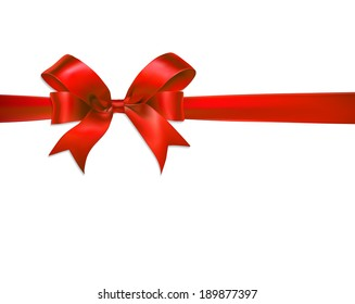 Vector shiny red satin ribbon on white background