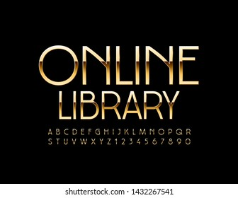 Vector shiny sign Online Library with Golden Uppercase Font. Chic thin Alphabet Letters and Numbers