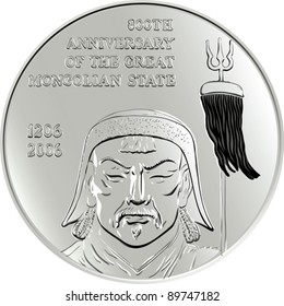 vector shiny silver commemorative coin depicting the Mongol Genghis Khan, isolated on white background