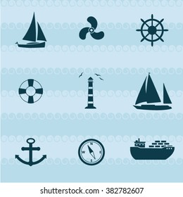 Vector ship and boat icon set  background
