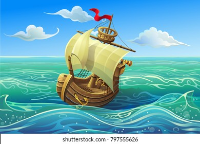 Vector ship. Boat schooner under white sails in the sea.