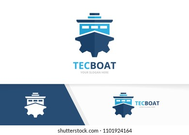 Vector ship and gear logo combination. Boat and mechanic symbol or icon. Unique yacht and industrial logotype design template.