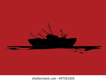Vector ship silhouette over red background