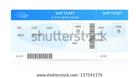 vector ship ticket template layout silhouette stock vector royalty