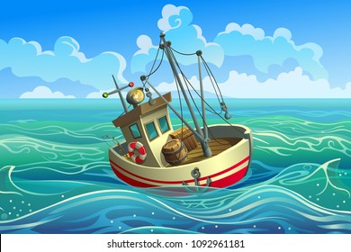 Vector ship. Trawler. Fishing boat with mast in the sea.