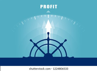 Vector of a ship wheel directed toward profit. Business financial concept