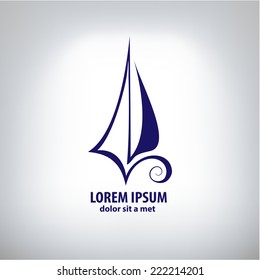 Vector ship, yacht sign corporate logo. Company logo design.