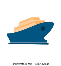 vector shipping boat illustration - travel icon - cruise boat symbol