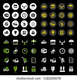 vector shipping icons set - transportation and delivery symbols isolated, logistics support icons