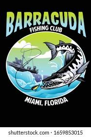 vector of shirt design barracuda fishing