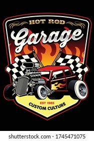 vector of shirt design of hot rod car garage