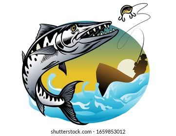 vector shirt design style of barracuda fishing