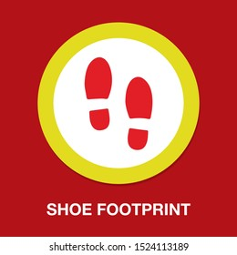 vector shoe footprint illustration - human foot print symbol, feet silhouette isolated