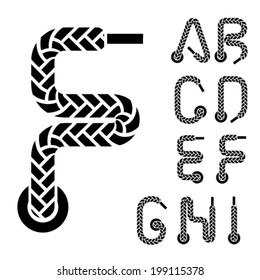 vector shoe lace alphabet letters part 1