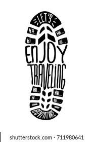 vector shoe print enjoy traveling