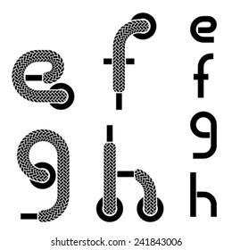 vector shoelace alphabet lower case letters e f g h