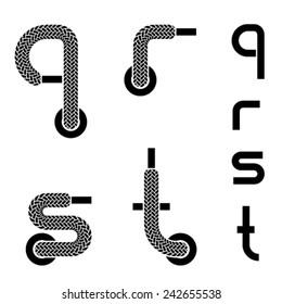vector shoelace alphabet lower case letters q r s t
