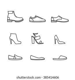 Vector shoes icon set isolated on white background