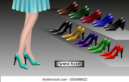Vector, shoes, try on shoes in store women shoes high and low heels, red, blue, green, yellow, purple, black shoes, 3D, realistic illustration.