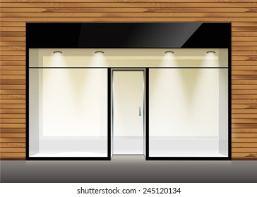 Vector Shop Boutique Store Front with Big Window and Place for Name