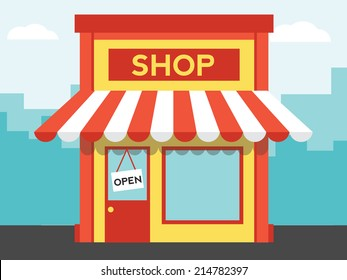 Vector shop or market, illustration background