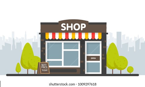 Vector shop or market store front exterior facade, vector illustration on sity space background.