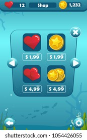 Vector shop screen game user interface with heart and coin icons, settings, stars and buttons devoted to underwater world with fish and coral